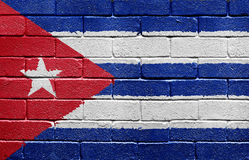 Flag of Cuba on brick wall Stock Photos