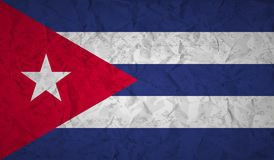 Flag of Cuba with the effect of crumpled paper and grunge. Flag  of Cuba with the effect of crumpled paper and grunge Stock Photos