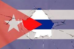 Flag of Cuba on glass. Flag of Cuba on a on glass breakage vector illustration