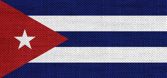 Flag of Cuba on old linen Royalty Free Stock Photo
