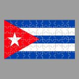 Flag of Cuba puzzles on a gray background. stock illustration