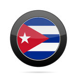 Flag of Cuba. Shiny black round button. Royalty Free Stock Photos