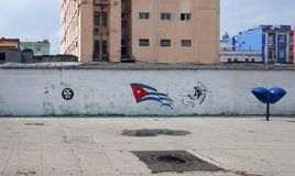 Flag Cuba on the wall. Painted by paint, Havana, Cuba, seacoon seafront Malecon Stock Photo