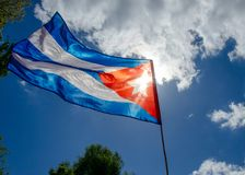 Flag of cuba waving in the air Royalty Free Stock Photography