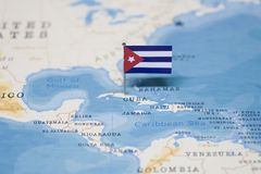 The Flag of cuba in the world map.  royalty free stock image