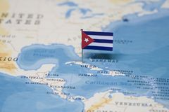 The Flag of cuba in the world map.  stock images
