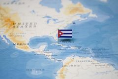 The Flag of cuba in the world map royalty free stock images
