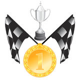 Flag, cup, medal Royalty Free Stock Photos