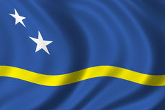 Flag of Curacao. Waving in the wind Stock Photos