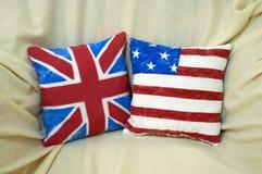 Flag cushion. American and English handmade flag cushion Royalty Free Stock Photos