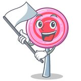 With flag cute lollipop character cartoon. Vector illustration Stock Image