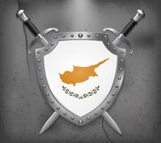 Flag of Cyprus. The Shield with National Flag. Two Crossed Sword. S. Vector Medieval Background Royalty Free Stock Images
