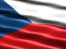 Flag of the Czech Republic. Computer generated illustration of the flag of the Czech Republic with silky appearance and waves Stock Images