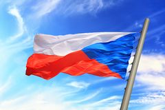 Czech flag. Flag of the Czech Republic against the background of the sky Royalty Free Stock Photography