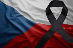 Flag of czech republic with black mourning ribbon. Waving national flag of czech republic with black mourning ribbon Royalty Free Stock Photo