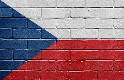 Flag of the Czech Republic on brick wall Royalty Free Stock Photo