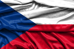 Flag of the Czech Republic - fabric background, wallpapers. Close-up Stock Photo