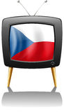 The flag of Czech Republic inside the television Stock Photos