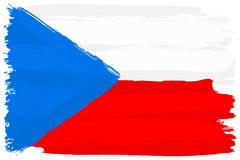 Flag of Czechia painted with brush strokes Royalty Free Stock Images
