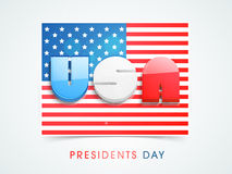 Flag with 3D text for American Presidents Day celebration. Stock Photography