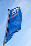 The flag of Datsun over blue sky Stock Images