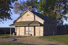 Flag Day Birthplace. This little pioneer school house is the birthplace for flag day in the USA. It has been restored and is located in southern wisconsin Stock Photos