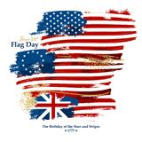 Flag Day card with american flags. 50-star, 13-star Betsy Ross, Grand Union flag Stock Illustration