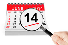 Flag Day Concept. 14 june 2014 calendar with magnifier on a white background Stock Image