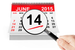 Flag Day Concept. 14 june 2015 calendar with magnifier on a white background vector illustration