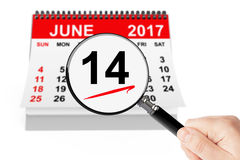 Flag Day Concept. 14 june 2017 calendar with magnifier. On a white background Royalty Free Stock Photo