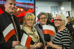 Flag day in the Polish Parliament RP. On May 2, 2015 in the Parliament of the Republic hosted a conference dedicated to the flag of the Republic of Poland with Stock Image