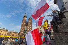 During Flag Day of the Republic of Polish - is national festival introduced by the Act of 20 Feb 2004. KRAKOW, POLAND - MAY 2, 2015: During Flag Day of the Royalty Free Stock Photos