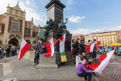 During Flag Day of the Republic of Polish - is national festival introduced by the Act. KRAKOW, POLAND - MAY 2, 2015: During Flag Day of the Republic of Polish Royalty Free Stock Photos