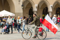 During Flag Day of the Republic of Polish - is national festival. KRAKOW, POLAND - MAY 2, 2015: During Flag Day of the Republic of Polish - is national festival Stock Image