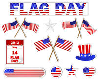 Flag Day stickers. Flag Day. Set of stickers with a picture an American flag. Vector illustration Stock Image