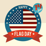 Flag Day of united states flat design card. 14th of June - American Flag Day flat design greeting card Stock Photos