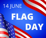 Flag Day. In USA 14th of June. Flag of USA on blue background with text Royalty Free Stock Photo