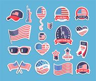 Flag Day of the USA Themed Souvenirs Collection Royalty Free Stock Photos