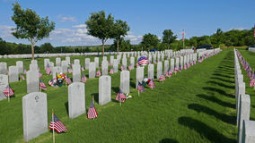 Flag Decorations in National Cemetery for Memorial Day Holiday Royalty Free Stock Image