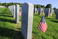 Flag Decorations in National Cemetery for Memorial Day Holiday Royalty Free Stock Images