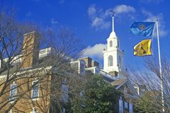 Flag of Delaware waving Stock Images