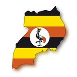 flag den uganda vektorn Royaltyfri Bild
