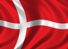 Flag of Denmark. Waving in the wind Royalty Free Stock Images