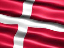 Flag of Denmark. Computer generated illustration of the flag of Denmark with silky appearance and waves royalty free illustration