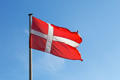 Flag of Denmark against the sky Royalty Free Stock Photos
