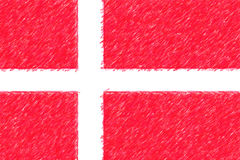 Flag of Denmark background o texture, color pencil effect. Stock Images