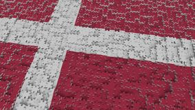 Flag of Denmark being made with jigsaw puzzle pieces. Danish problem solution conceptual 3D rendering. Flag made of puzzle pieces, conceptual 3D vector illustration