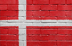 Flag of Denmark on brick wall Royalty Free Stock Photos