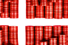Flag denmark. Build with coins Royalty Free Stock Photo