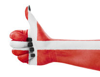 Flag of Denmark on hand Stock Images